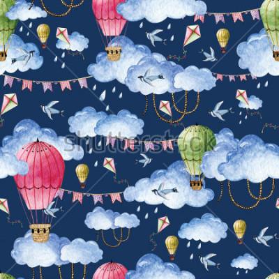 Cuadro Patrón de acuarela con globos y nubes