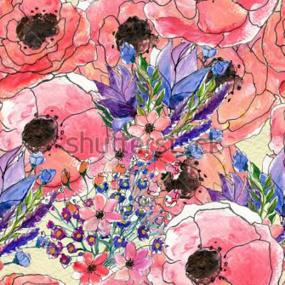 Cuadro Patrón de acuarela floral transparente