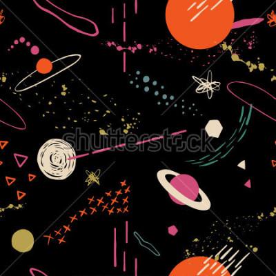 Cuadro Patrón de colores sin fisuras con el espacio, estrellas, galaxias, constelaciones. Dibujado a mano de fondo superpuesto para su diseño. Textil, blog decoración, banner, cartel, papel de embalaje.