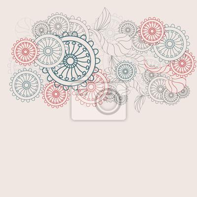 Cuadro Patrón De Flores En Tonos Pastel Vector
