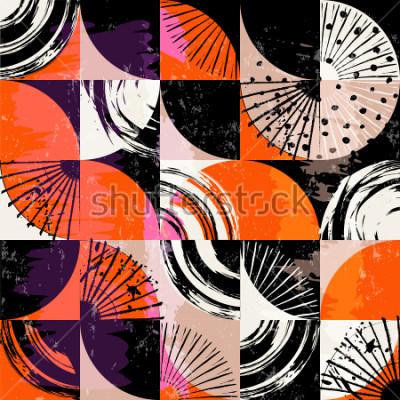 Cuadro Patrón de fondo abstracto, con círculos, puntos, cuadrados, trazos y salpicaduras