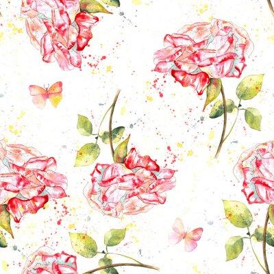Cuadro Patrón de fondo transparente con rosas de acuarela, salpicaduras y mariposas