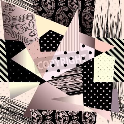 Cuadro Patrón de fondo transparente. Fondo geométrico abstracto en estilo del cubismo.