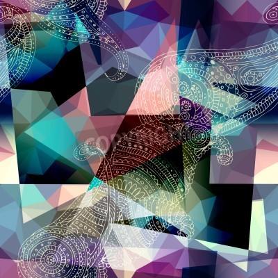 Cuadro Patrón de fondo transparente. Imitación de la pintura del estilo del cubismo.