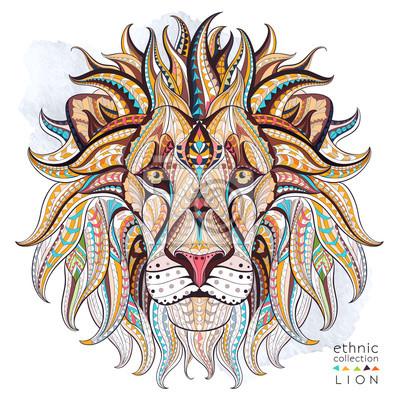Cuadro Patrón de la cabeza del león en el fondo del grunge. Diseño africano / del indio / del tótem / del tatuaje. Puede ser utilizado para el diseño de una camiseta, bolso, postal, un cartel y así sucesivam
