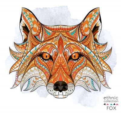 Cuadro Patrón de la cabeza del zorro rojo en el fondo del grunge. Diseño africano / del indio / del tótem / del tatuaje. Puede ser utilizado para el diseño de una camiseta, bolso, postal, un cartel y así suc