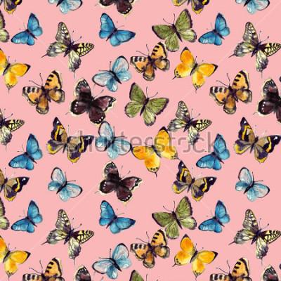 Cuadro patrón de mariposa acuarela