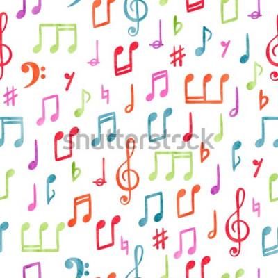 Cuadro Patrón de notas musicales coloridas sin fisuras. Fondo musical acuarela