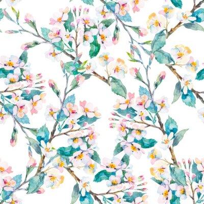 Cuadro Patrón de primavera. Ramas florecientes. Acuarela. Vector.