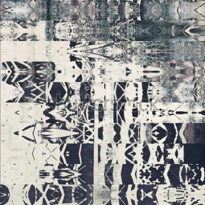 Cuadro Patrón de rayas horizontales geométricas abstractas de arte, fondo monocromo con textura de papel en colores gris blanco, negro y azul; duda vertical sin duda