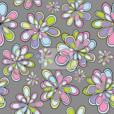 Cuadro Patrón De Seamles Con Flores En Tonos Pastel