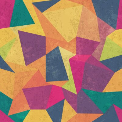 Cuadro Patrón de triángulo. Colorido, grunge y transparente. Efectos de grunge