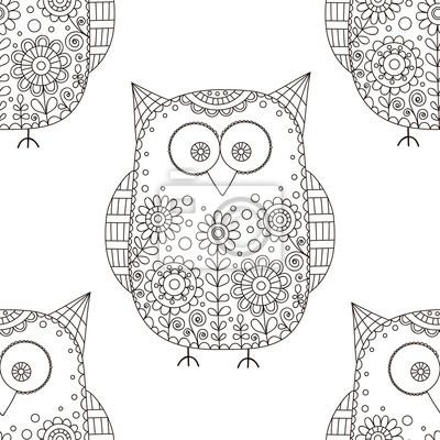 Patrón de vector sin fisuras con búhos de dibujos animados doodle ...