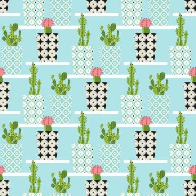 Cuadro Patrón de vectores con cactus. Cute cactus flores en macetas ornamentales. Ilustración de dibujo a mano.