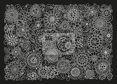 Patron Dibujado A Mano Con Flores En Blanco Y Negro Para Web