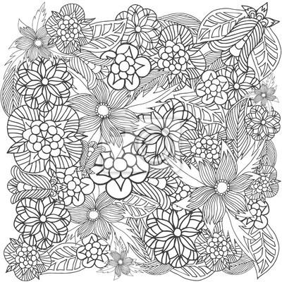 Patrón floral para el libro para colorear. muestra en blanco ...
