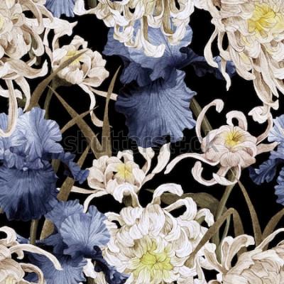 Cuadro Patrón floral transparente con crisantemo e iris, acuarela