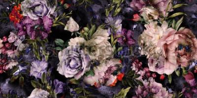 Cuadro Patrón floral transparente con flores, acuarela