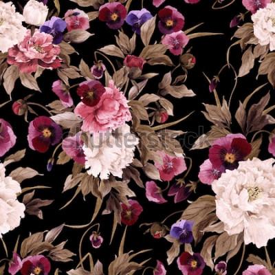 Cuadro Patrón floral transparente con peonías y pensamiento, acuarela