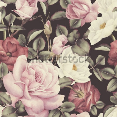 Cuadro Patrón floral transparente con rosas, acuarela