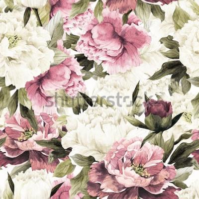 Cuadro Patrón floral transparente con rosas sobre fondo blanco, acuarela.
