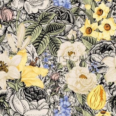 Cuadro Patrón floral transparente de verano. Arte de flores vintage. Florece rosas, lirios blancos y amarillos, narcisos, tulipanes y delphinium azul y nomeolvides sobre fondo beige y negro.
