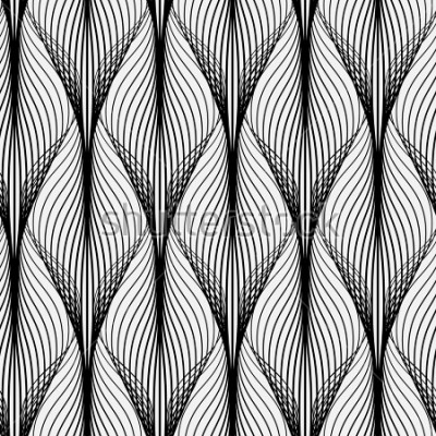 Cuadro Patrón geométrico abstracto con líneas onduladas. Fondo sin complicaciones Adorno monocromático. Versión rasterizada