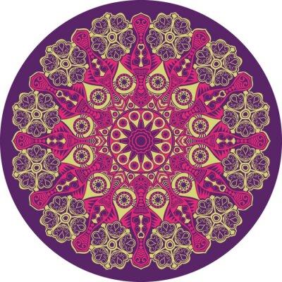Cuadro patrón ornamental de encaje redondo, de fondo círculo con muchos deta