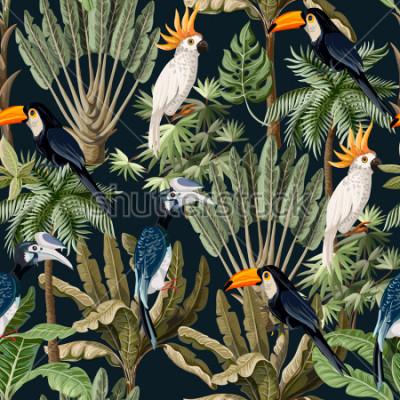 Cuadro Patrón sin fisuras con árboles exóticos y aves silvestres, loros y tucanes.