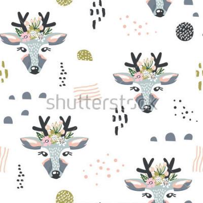 Cuadro Patrón sin fisuras con ciervos, elementos florales, ramas. Fondo creativo del bosque. Perfecto para la ropa de niños, telas, textiles, decoración de viveros, papel de regalo. Ilustración vectorial