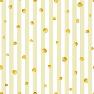 Cuadro Patrón sin fisuras con círculos dorados pintados a mano. Modelo del lunar del oro