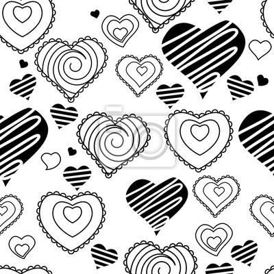 Patrón Sin Fisuras Con Corazones En Blanco Y Negro Textura