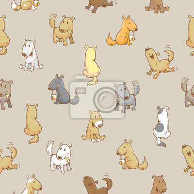 Patrón Sin Fisuras Con Dibujos Animados Perros Divertidos Sobre
