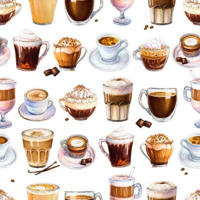 Cuadro Patrón sin fisuras con diferentes bebidas de café sobre fondo blanco. Ilustración de espresso, café con leche y americano, capuchino y otro sabroso café. Dibujado a mano por marcadores, acuarela.