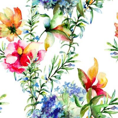 Cuadro Patrón sin fisuras con flores decorativas de verano