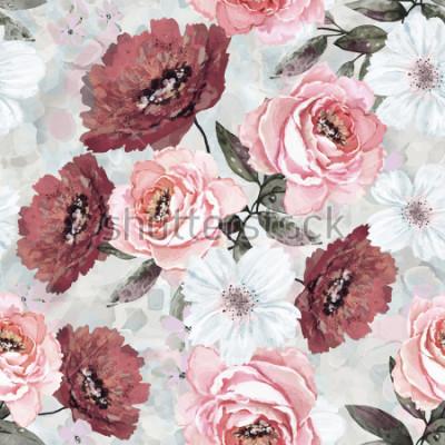 Cuadro Patrón sin fisuras con flores y hojas. Fondo floral para papel pintado, papel y tela. Pintura de acuarela con rosas rosadas y borgoñas.