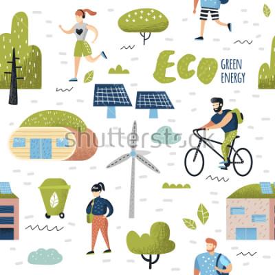 Cuadro Patrón sin fisuras con la ciudad verde. Conservación del medio ambiente. Tecnologías Eco City Future para la Preservación del Planeta. Fondo de ecología de energía alternativa. Ilustración vectorial