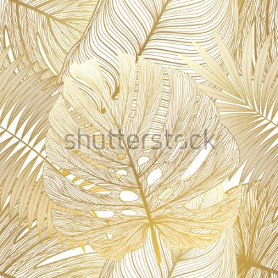 Cuadro Patrón sin fisuras con la palma de la hoja tropical. Ilustracion vectorial