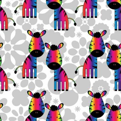 Cuadro Patrón sin fisuras con las cebras graciosas arco iris