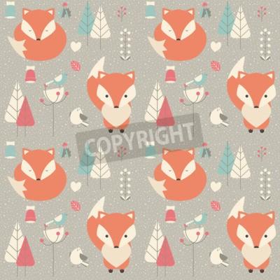 Cuadro Patrón sin fisuras con lindo bebé de Navidad zorro rodeado de decoración floral, ilustración vectorial