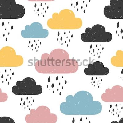 Cuadro Patrón sin fisuras con nubes de lluvia de colores. Ilustración vectorial