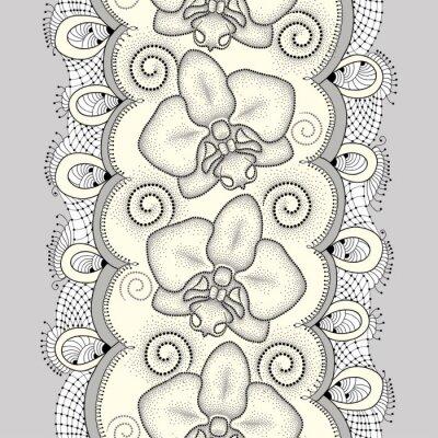 Cuadro Patrón sin fisuras con polilla punteada Orquídea o Phalaenopsis, remolinos y encajes decorativos sobre el fondo amarillo claro. Fondo floral en estilo de puntowork.