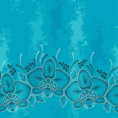 Cuadro Patrón sin fisuras con polilla punteada Orquídea o Phalaenopsis y hojas sobre el fondo de textura turquesa. Fondo floral en estilo de puntowork.