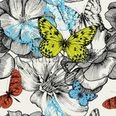 Cuadro Patrón sin fisuras con rosas florecientes y mariposas volando, dibujo a mano. Ilustración vectorial