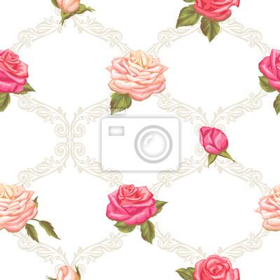 Patron Sin Fisuras Con Rosas Vintage Flores Decorativas Retro