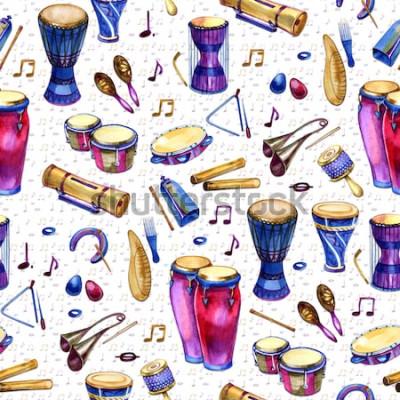 Cuadro Patrón sin fisuras con tambores en estilo acuarela sobre fondo blanco. Instrumentos musicales de percusión. Diseño colorido para fiesta retro en estilo memphis. ilustración