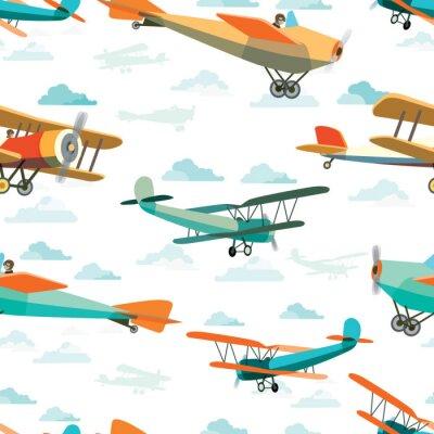 Cuadro Patrón sin fisuras de Retro Airplanes