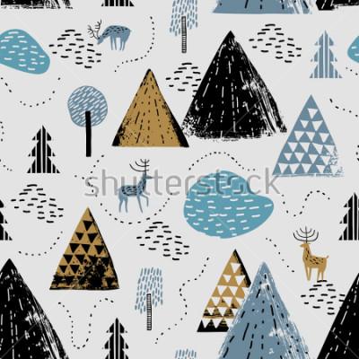 Cuadro Patrón sin nubes con un paisaje de montaña, raindeer y bosque. Perfecto para tarjetas, invitaciones, papel tapiz, pancartas, guardería, baby shower, decoración de la habitación de los niños. Paisaje