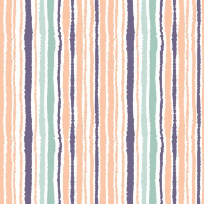 Cuadro Patrón transparente a rayas. Líneas estrechas verticales. Papel rasgado, triturar la textura del borde. Naranja, azul, luz blanca de fondo de color suave. Vector