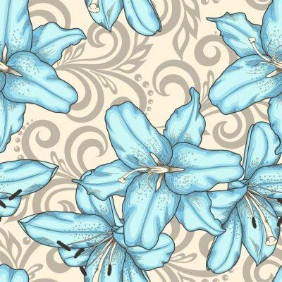 Cuadro Patrón transparente con lirios azules flores y remolinos florales abstractos